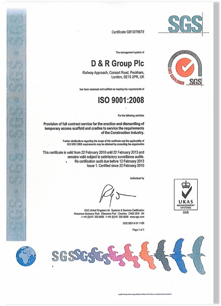 D+R Scaffold Group Limited - Quality Assurance